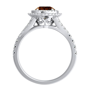 ALYSSA  Double  Halo  Brown  Diamond  Engagement  Ring  In  14K  White  Gold  With  0.50  Carat  Round  Diamond