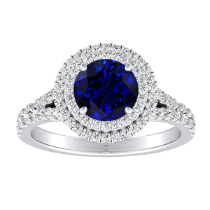 ALYSSA Double Halo Blue Sapphire Engagement Ring In 14K White Gold With 0.30 Carat Round Stone