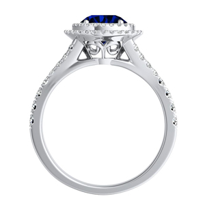 ALYSSA  Double  Halo  Blue  Sapphire  Bridalset  In  14K  White  Gold  With  0.50  Carat  Round  Stone