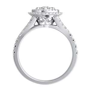 ALYSSA Double Halo Diamond Engagement Ring In 14K White Gold With Round Diamond In H-I SI1-SI2 Quality