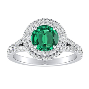 ALYSSA Double Halo Green Emerald Engagement Ring In 14K White Gold With 0.30 Carat Round Stone