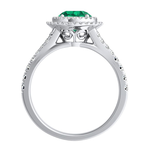 ALYSSA  Double  Halo  Green  Emerald  Bridalset  In  14K  White  Gold  With  0.50  Carat  Round  Stone