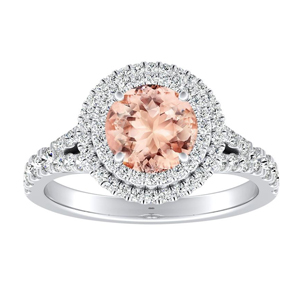 ALYSSA Double Halo Morganite Engagement Ring In 14K White Gold With 1.00 Carat Round Stone