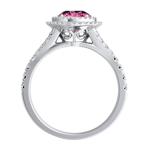 ALYSSA  Double  Halo  Pink  Sapphire  Bridalset  In  14K  White  Gold  With  0.50  Carat  Round  Stone