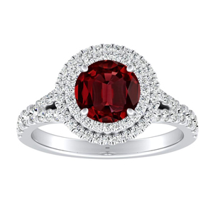 ALYSSA Double Halo Ruby Engagement Ring In 14K White Gold With 0.30 Carat Round Stone