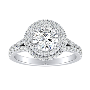 ALYSSA Double Halo Moissanite Engagement Ring In 14K White Gold With 0.50 Carat Round Stone