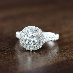 ALYSSA Double Halo Diamond Engagement Ring In 14K White Gold With 0.50ct. Round Diamond