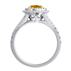 ALYSSA  Double  Halo  Yellow  Diamond  Engagement  Ring  In  14K  White  Gold  With  0.50  Carat  Round  Diamond