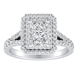 ALYSSA Double Halo Diamond Engagement Ring In 14K White Gold With Radiant Diamond In H-I SI1-SI2 Quality