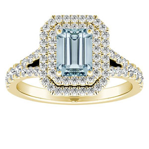 ALYSSA Double Halo Aquamarine Engagement Ring In 14K Yellow Gold With 1.00 Carat Emerald Stone