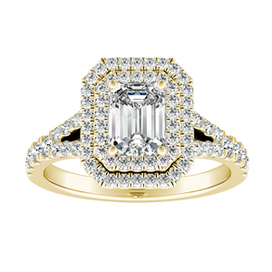 ALYSSA Double Halo Diamond Engagement Ring In 14K Yellow Gold With 0.50ct. Emerald Diamond