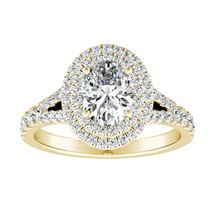 ALYSSA Double Halo Diamond Engagement Ring In 14K Yellow Gold With 0.50ct. Oval Diamond