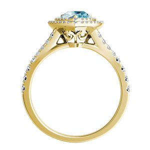 ALYSSA  Double  Halo  Aquamarine  Engagement  Ring  In  14K  Yellow  Gold  With  1.00  Carat  Pear  Stone
