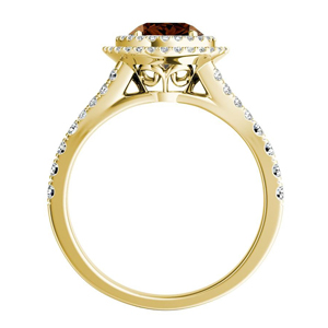 ALYSSA  Double  Halo  Brown  Diamond  Engagement  Ring  In  14K  Yellow  Gold  With  0.50  Carat  Round  Diamond