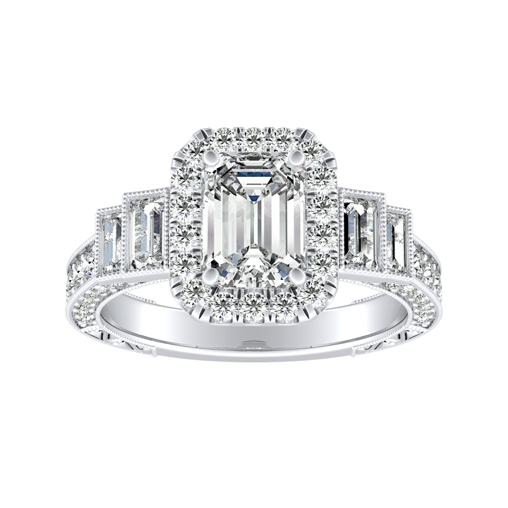 FAITH Vintage Diamond Engagement Ring In 14K White Gold