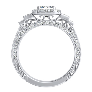 FAITH Vintage Diamond Engagement Ring In 14K White Gold