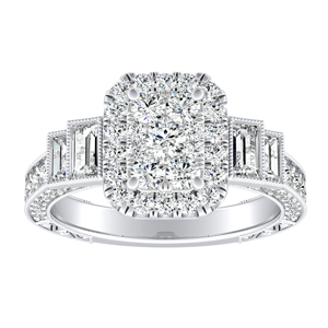 FAITH  Vintage Diamond Engagement Ring In 14K White Gold With Radiant Diamond In H-I SI1-SI2 Quality