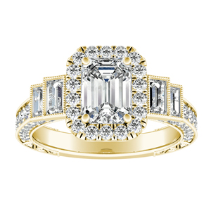 FAITH Vintage Diamond Engagement Ring In 14K Yellow Gold
