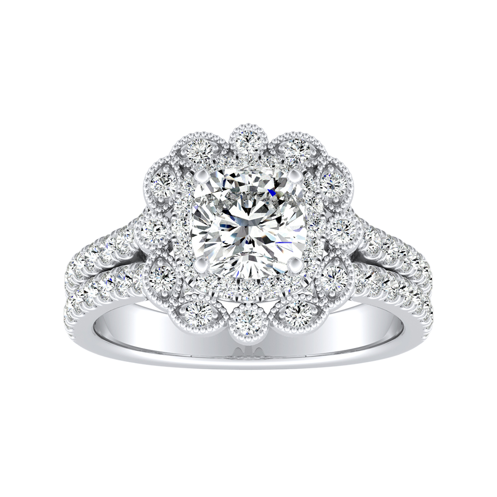 JASMINE Halo Diamond Engagement Ring In 14K White Gold