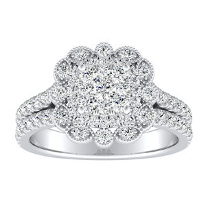 JASMINE Halo Diamond Engagement Ring In 14K White Gold With Cushion Diamond In H-I SI1-SI2 Quality