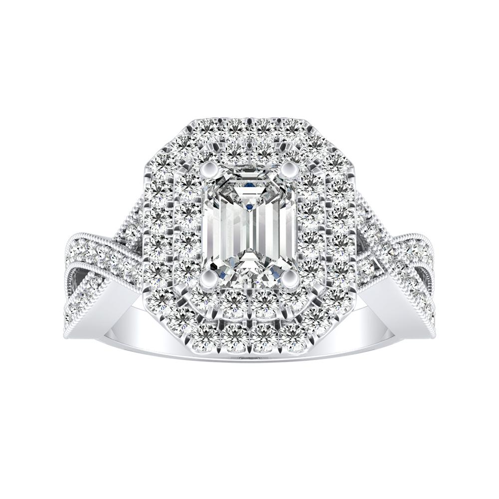 NATALIA Double Halo Diamond Engagement Ring In 14K White Gold