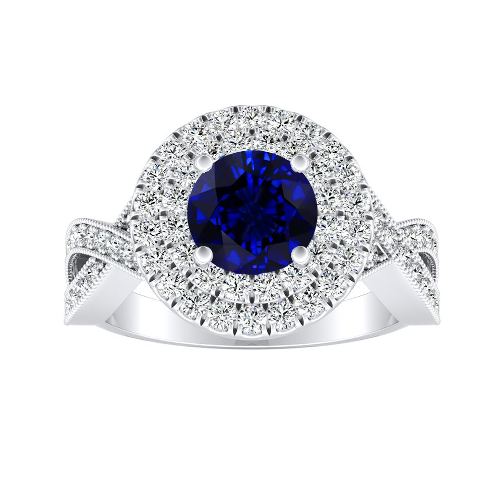 NATALIA Double Halo Blue Sapphire Engagement Ring In 14K White Gold With 0.30 Carat Round Stone