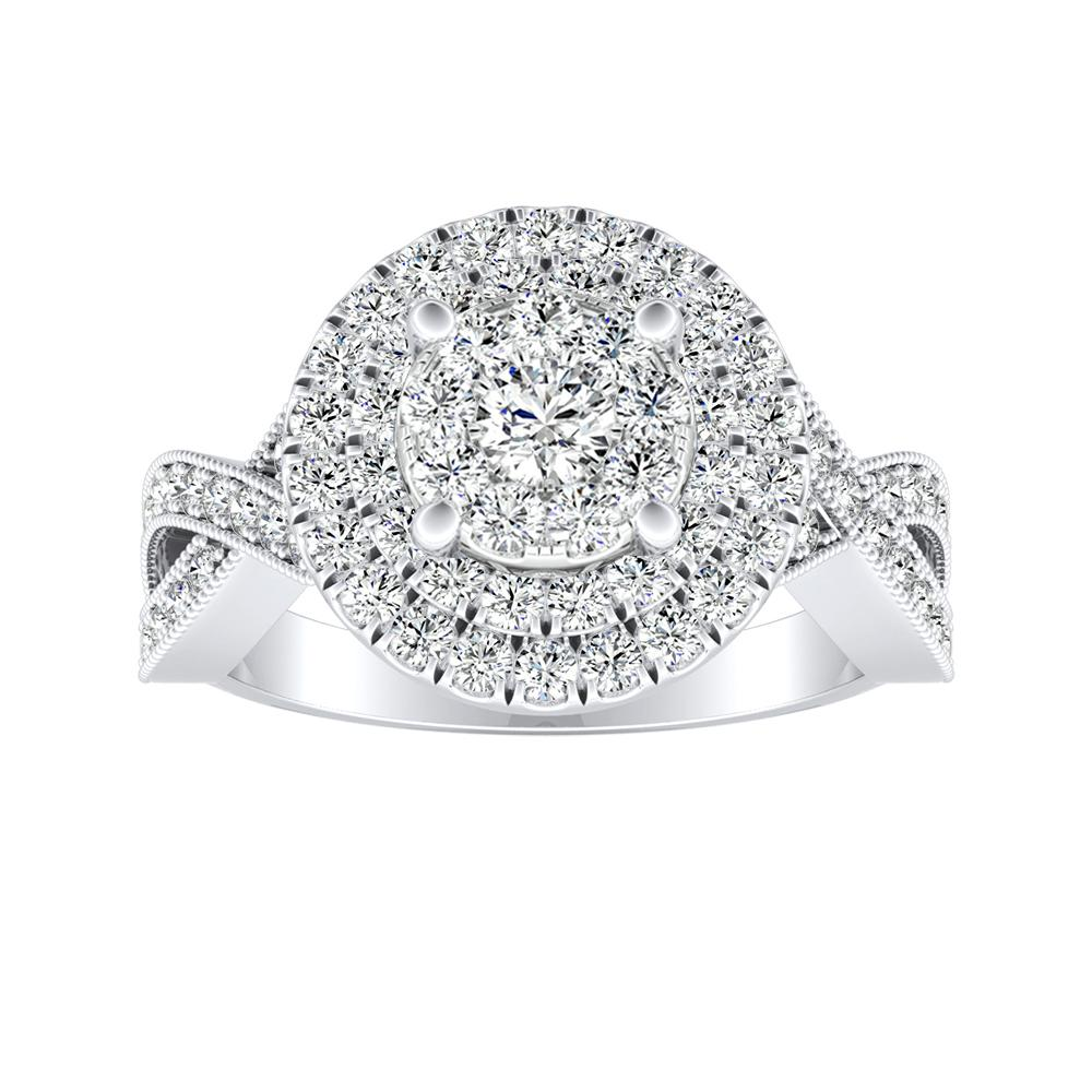 NATALIA Double Halo Diamond Engagement Ring In 14K White Gold With Round Diamond In H-I SI1-SI2 Quality