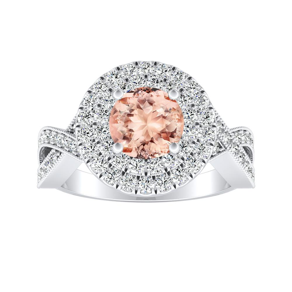 NATALIA Double Halo Morganite Engagement Ring In 14K White Gold With 1.00 Carat Round Stone