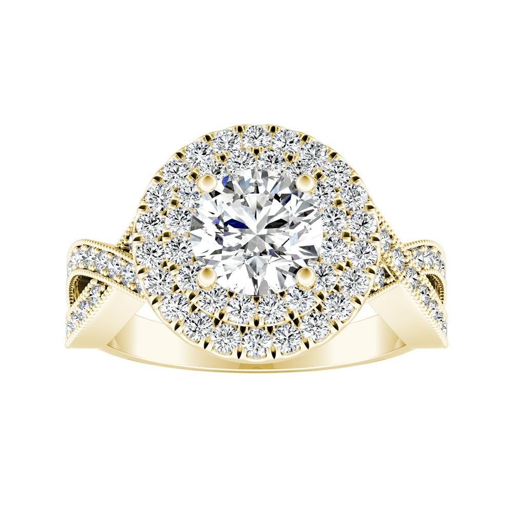 NATALIA Double Halo Diamond Engagement Ring In 14K Yellow Gold