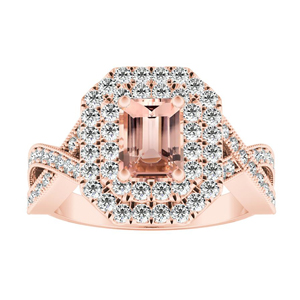 NATALIA Double Halo Morganite Engagement Ring In 14K Rose Gold With 4.00 Carat Emerald Stone