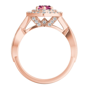 NATALIA  Double  Halo  Pink  Sapphire  Engagement  Ring  In  14K  Rose  Gold  With  0.50  Carat  Marquise  Stone
