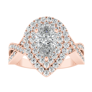 NATALIA Double Halo Diamond Engagement Ring In 14K Rose Gold