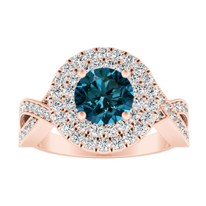 NATALIA Double Halo Blue Diamond Engagement Ring In 14K Rose Gold With 0.50 Carat Round Diamond