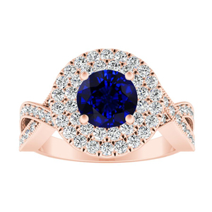 NATALIA Double Halo Blue Sapphire Engagement Ring In 14K Rose Gold With 0.50 Carat Round Stone