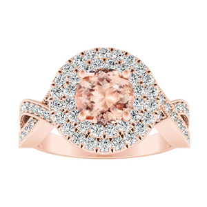 NATALIA Double Halo Morganite Engagement Ring In 14K Rose Gold With 4.00 Carat Round Stone