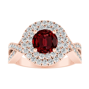 NATALIA Double Halo Ruby Engagement Ring In 14K Rose Gold With 0.50 Carat Round Stone