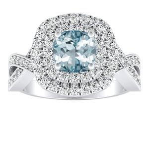 NATALIA Double Halo Aquamarine Engagement Ring In 14K White Gold With 3.00 Carat Cushion Stone