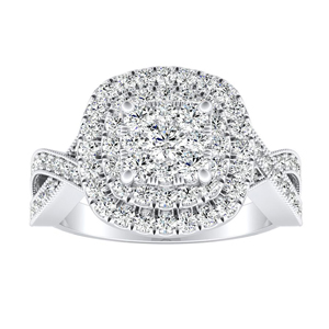NATALIA Double Halo Diamond Engagement Ring In 14K White Gold With Cushion Diamond In H-I SI1-SI2 Quality