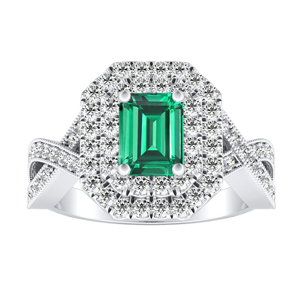 NATALIA  Double  Halo  Green  Emerald  Engagement  Ring  In  14K  White  Gold  With  0.50  Carat  Emerald  Stone