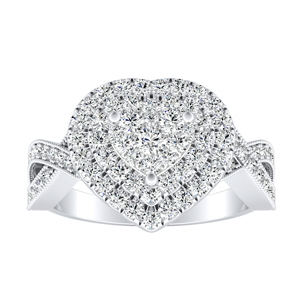 NATALIA Double Halo Diamond Engagement Ring In 14K White Gold With Heart Diamond In H-I SI1-SI2 Quality