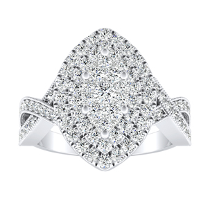 NATALIA Double Halo Diamond Engagement Ring In 14K White Gold With Marquise Diamond In H-I SI1-SI2 Quality