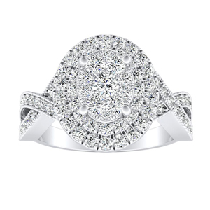 NATALIA Double Halo Diamond Engagement Ring In 14K White Gold With Oval Diamond In H-I SI1-SI2 Quality