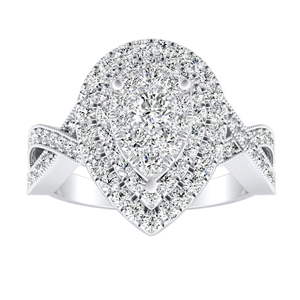 NATALIA Double Halo Diamond Engagement Ring In 14K White Gold With Pear Diamond In H-I SI1-SI2 Quality