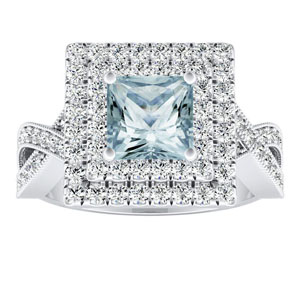 NATALIA Double Halo Aquamarine Engagement Ring In 14K White Gold With 1.00 Carat Princess Stone