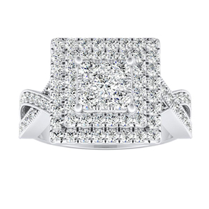 NATALIA Double Halo Diamond Engagement Ring In 14K White Gold With Princess Diamond In H-I SI1-SI2 Quality
