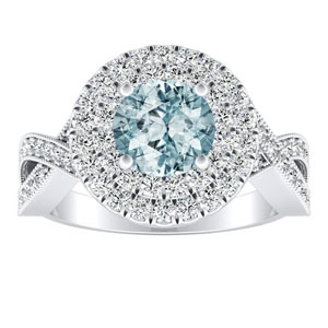 NATALIA Double Halo Aquamarine Engagement Ring In 14K White Gold With 1.00 Carat Round Stone