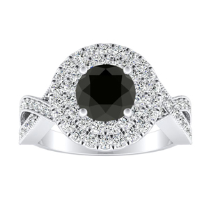 NATALIA Double Halo Black Diamond Engagement Ring In 14K White Gold With 0.50 Carat Round Diamond