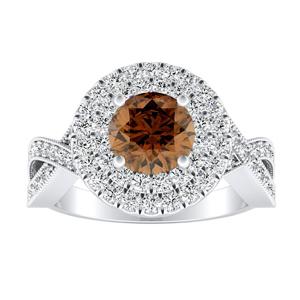 NATALIA Double Halo Brown Diamond Engagement Ring In 14K White Gold With 0.30 Carat Round Diamond