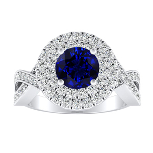 NATALIA Double Halo Blue Sapphire Engagement Ring In 14K White Gold With 0.50 Carat Round Stone