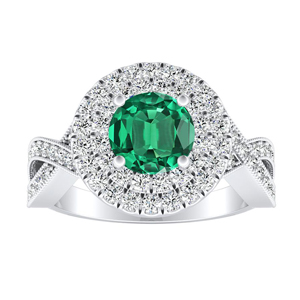 NATALIA Double Halo Green Emerald Engagement Ring In 14K White Gold With 0.30 Carat Round Stone